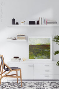 "Impressionist abstract landscape art ""Spring Eternal,"" printable wall art by Victoria Primicias, decorates the office."