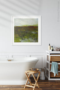 "Impressionist abstract landscape art ""Spring Eternal,"" printable wall art by Victoria Primicias, decorates the bathroom."