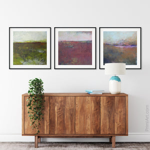 "Impressionist abstract landscape art ""Spring Eternal,"" printable wall art by Victoria Primicias, decorates the hallway."