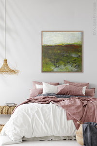 "Impressionist abstract landscape art ""Spring Eternal,"" printable wall art by Victoria Primicias, decorates the bedroom."