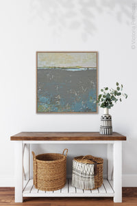 "Modern abstract ocean painting ""Still Suede,"" downloadable art by Victoria Primicias, decorates the hallway."
