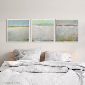 "Seafoam and gray abstract coastal wall art ""Sunday Morning,"" downloadable art by Victoria Primicias, decorates the bedroom."