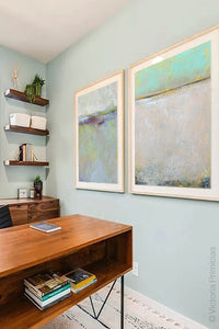 "Seafoam and gray abstract beach wall decor ""Sunday Morning,"" downloadable art by Victoria Primicias, decorates the office."