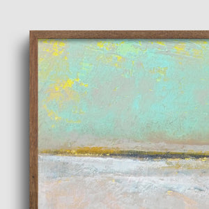 "Closeup detail of mint and gray abstract beach wall art ""Sunday Morning,"" metal print by Victoria Primicias"