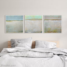 "Load image into Gallery viewer, Mint and gray abstract coastal wall art ""Sunday Morning,"" fine art print by Victoria Primicias, decorates the bedroom."