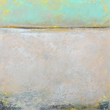 "Load image into Gallery viewer, Mint and gray abstract beach wall art ""Sunday Morning,"" metal print by Victoria Primicias"