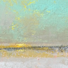 "Load image into Gallery viewer, Closeup detail of mint and gray abstract beach wall decor ""Sunday Morning,"" metal print by Victoria Primicias"