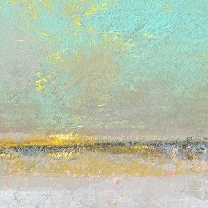 "Closeup detail of mint and gray abstract beach wall decor ""Sunday Morning,"" metal print by Victoria Primicias"