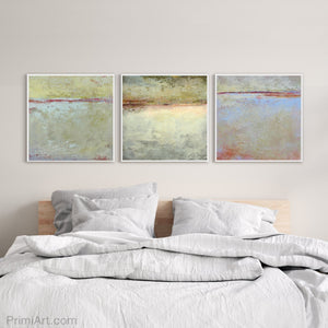 "Muted beige abstract landscape art ""Sweet Compass,"" digital download by Victoria Primicias, decorates the bedroom."