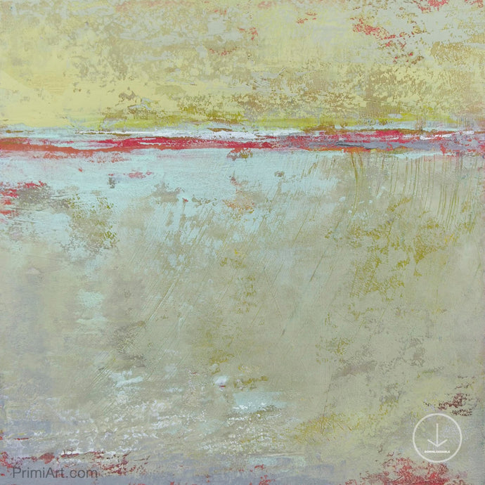 Muted beige abstract ocean painting