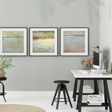 "Load image into Gallery viewer, Muted beige abstract ocean art ""Sweet Compass,"" digital download by Victoria Primicias, decorates the office."