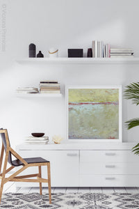"Neutral color abstract landscape art ""Sweet Compass,"" canvas wall art by Victoria Primicias, decorates the office."
