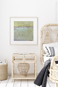 "Neutral color abstract ocean painting ""Sweet Compass,"" giclee print by Victoria Primicias, decorates the bedroom."