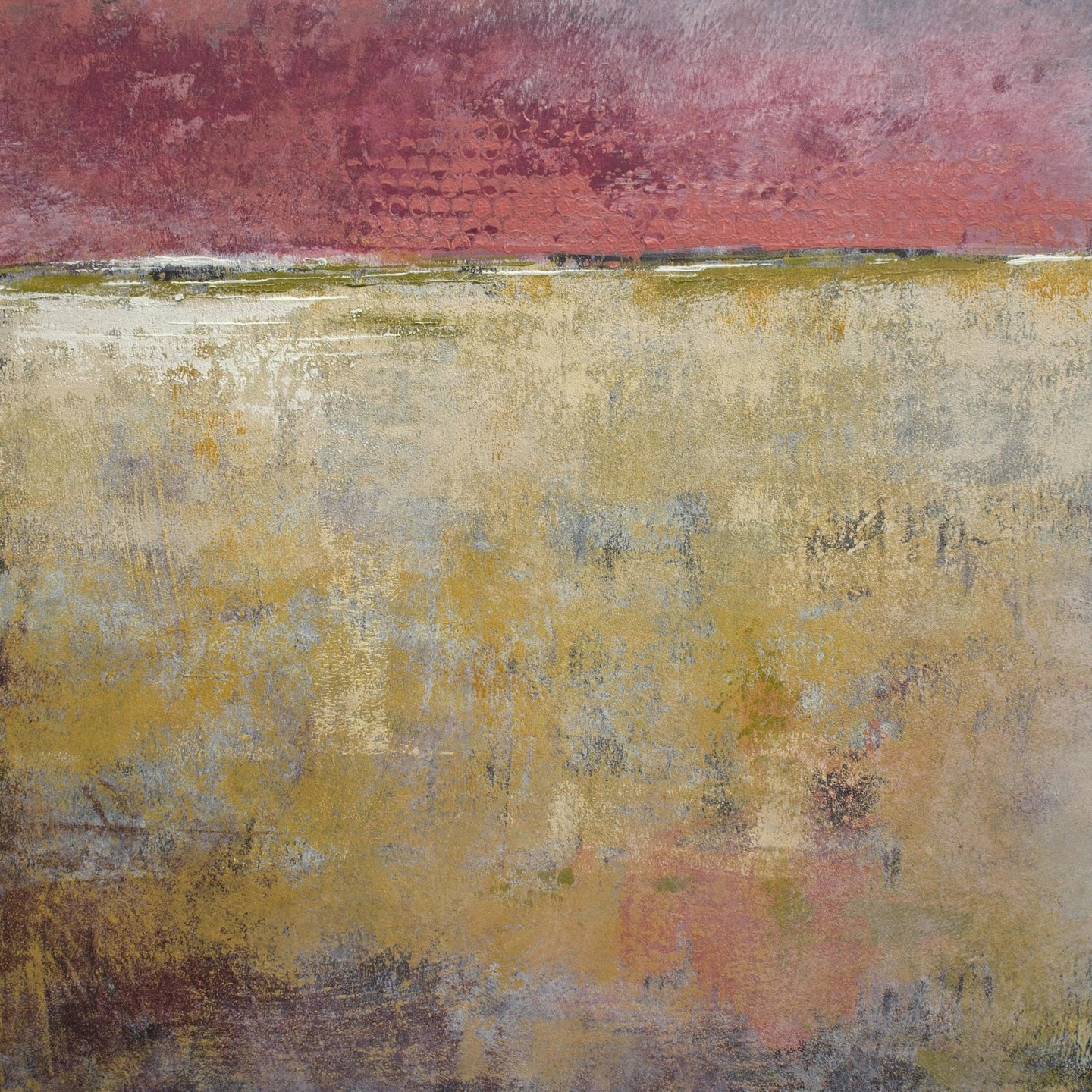 Red and gold abstract ocean painting