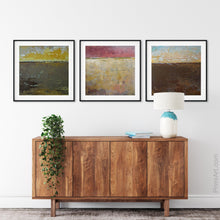 "Load image into Gallery viewer, Red and gold abstract ocean art ""Tangerine Light,"" canvas art print by Victoria Primicias, decorates the entryway."