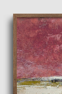"Closeup detail of red and gold abstract ocean painting ""Tangerine Light,"" canvas wall art by Victoria Primicias"
