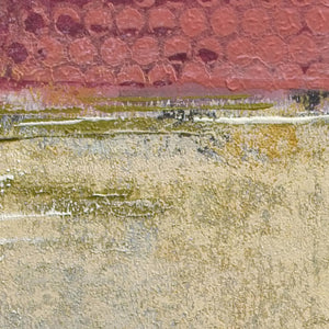 "Closeup detail of red and gold abstract landscape art ""Tangerine Light,"" canvas print by Victoria Primicias"