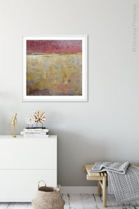 "Red and gold abstract ocean painting ""Tangerine Light,"" canvas wall art by Victoria Primicias, decorates the hallway."