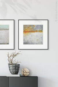"Contemporary abstract ocean art ""Tawny Spirit,"" printable art by Victoria Primicias, decorates the hallway."