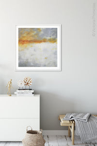 "Contemporary abstract ocean art ""Tawny Spirit,"" digital artwork by Victoria Primicias, decorates the entryway."