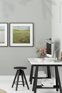 "Yellow green abstract beach artwork ""Tender Reasons,"" digital art landscape by Victoria Primicias, decorates the office."