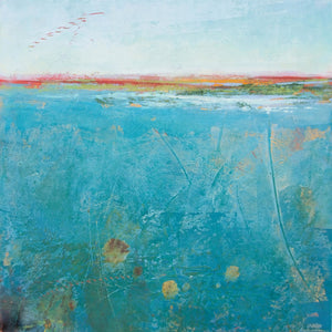 "Teal abstract seascape painting ""Tethered Basin,"" fine art print by Victoria Primicias"