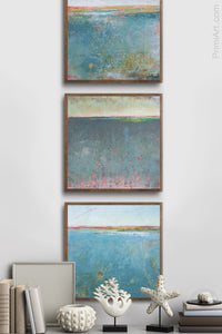 "Teal abstract beach wall art ""Tethered Basin,"" giclee print by Victoria Primicias, decorates the hallway."