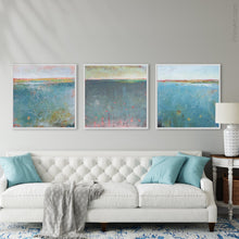 "Load image into Gallery viewer, Teal abstract beach wall decor ""Tethered Basin,"" canvas wall art by Victoria Primicias, decorates the living room."