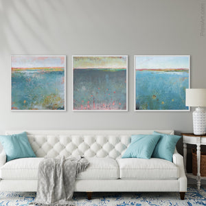 "Teal abstract beach wall decor ""Tethered Basin,"" canvas wall art by Victoria Primicias, decorates the living room."