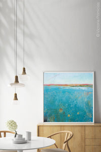 "Teal abstract seascape painting ""Tethered Basin,"" fine art print by Victoria Primicias, decorates the dining room."