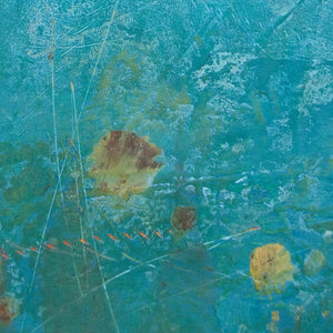 "Closeup detail of teal abstract beach wall art ""Tethered Basin,"" giclee print by Victoria Primicias"