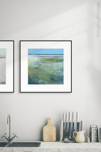 "Large abstract coastal wall art ""Thirsty Sheets,"" canvas art print by Victoria Primicias, decorates the kitchen."