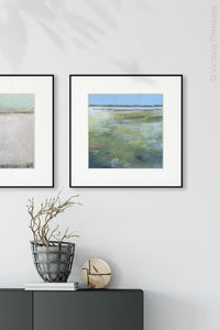 "Large abstract ocean art ""Thirsty Sheets,"" canvas print by Victoria Primicias, decorates the hallway."