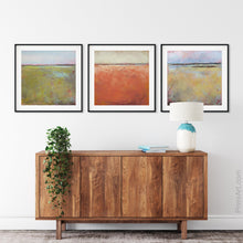"Load image into Gallery viewer, Yellow green abstract coastal wall art ""Tidal Pools,"" digital print by Victoria Primicias, decorates the entryway."