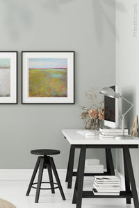 "Yellow green abstract landscape painting ""Tidal Pools,"" digital print by Victoria Primicias, decorates the office."