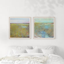 "Load image into Gallery viewer, Yellow green abstract coastal wall art ""Tidal Pools,"" digital download by Victoria Primicias, decorates the bedroom."