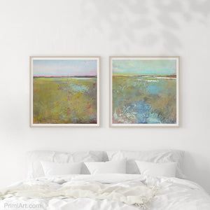 "Yellow green abstract coastal wall art ""Tidal Pools,"" digital download by Victoria Primicias, decorates the bedroom."