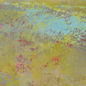 "Closeup detail of chartreuse abstract landscape art ""Tidal Pools,"" metal print by Victoria Primicias"