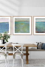 "Load image into Gallery viewer, Colorful abstract beach wall decor ""Tides End,"" digital print by Victoria Primicias, decorates the dining room."