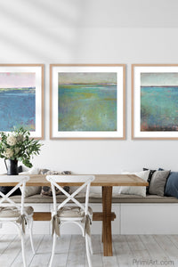 "Colorful abstract beach wall decor ""Tides End,"" digital print by Victoria Primicias, decorates the dining room."