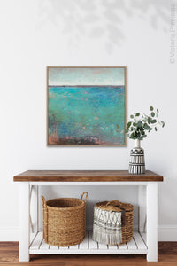 "Colorful abstract beach wall decor ""Tides End,"" downloadable art by Victoria Primicias, decorates the entryway."