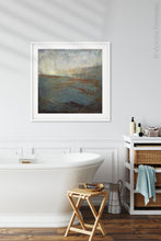 "Load image into Gallery viewer, Contemporary abstract ocean art ""Titian Tides,"" digital art landscape by Victoria Primicias, decorates the bathroom."