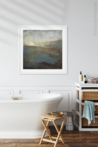"Contemporary abstract ocean art ""Titian Tides,"" digital art landscape by Victoria Primicias, decorates the bathroom."