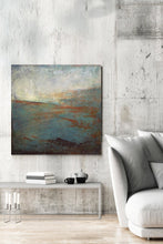 "Load image into Gallery viewer, Contemporary abstract ocean art ""Titian Tides,"" digital artwork by Victoria Primicias, decorates the living room."