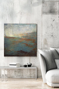"Contemporary abstract ocean art ""Titian Tides,"" digital artwork by Victoria Primicias, decorates the living room."