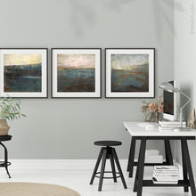"Load image into Gallery viewer, Contemporary abstract seascape painting ""Titian Tides,"" printable art by Victoria Primicias, decorates the office."