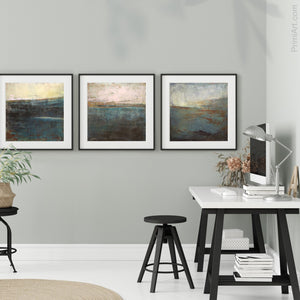 "Contemporary abstract seascape painting ""Titian Tides,"" printable art by Victoria Primicias, decorates the office."