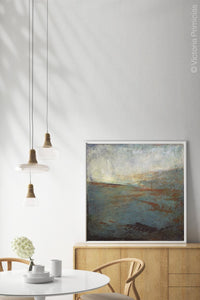 "Contemporary abstract beach art ""Titian Tides,"" digital print by Victoria Primicias, decorates the dining room."
