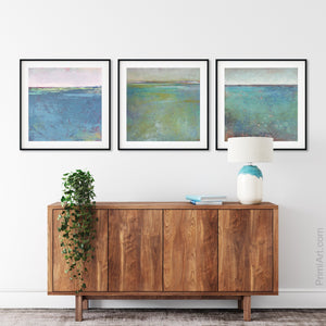 "Teal green abstract landscape art ""Tropicana Tales,"" downloadable art by Victoria Primicias, decorates the entryway."