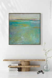 "Teal green abstract beach painting ""Tropicana Tales,"" digital print by Victoria Primicias, decorates the entryway."